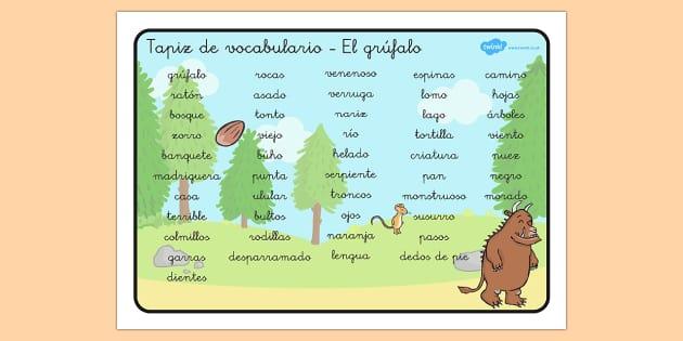 Tapiz de vocabulario El Grúfalo