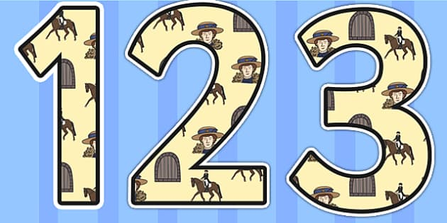 Emily Davison Themed Display Numbers - emily davidson, display numbers, themed number, classroom number, numbers for display, numbers, number display