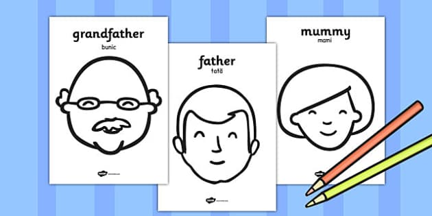 My Family A4 Colouring Posters Romanian Translation - romanian