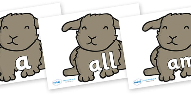 Foundation Stage 2 Keywords on Rabbits - FS2, CLL, keywords, Communication language and literacy,  Display, Key words, high frequency words, foundation stage literacy, DfES Letters and Sounds, Letters and Sounds, spelling