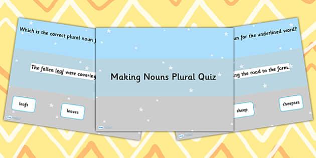 Making a Noun Plural SPaG PowerPoint Quiz - noun, SPaGm literacy