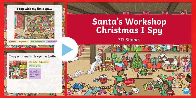 KS1 Santa's Workshop 3D Shape PowerPoint - Christmas, Nativity, Jesus, xmas, Xmas, Father Christmas, Santa, Santa's workshop, presents, 3D sha