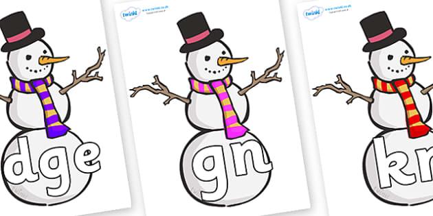 Silent Letters on Snowmen - Silent Letters, silent letter, letter blend, consonant, consonants, digraph, trigraph, A-Z letters, literacy, alphabet, letters, alternative sounds