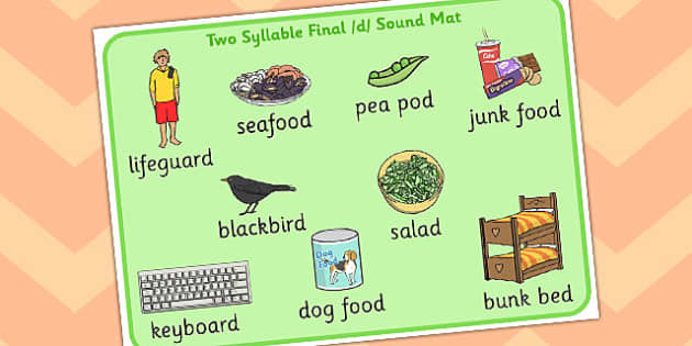 Two Syllable Final 'D' Sound Word Mat - sounds, words, mats, visual
