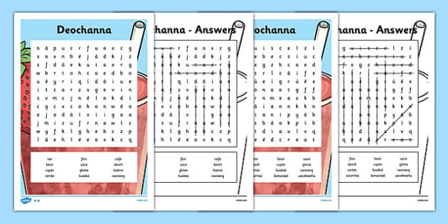 Irish Gaeilge Deochanna Word Search - irish, gaeilge, deochanna, word search, activity