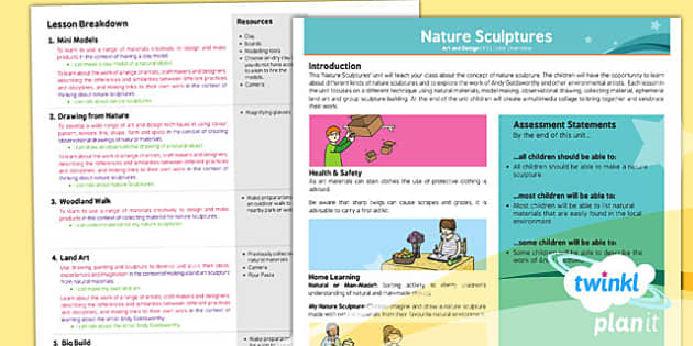 PlanIt - Art KS1 - Nature Sculptures Planning Overview - planit