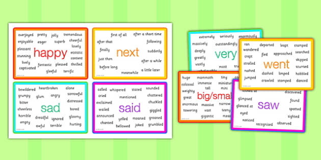 Interesting Words Vocabulary Cards - synonym word cards, synonym prompt cards, better words, powerful words, writing aid, creative writing aid, ks2 english