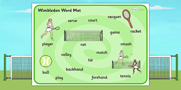 Wimbledon Themed Word Mat - sports, tennis, visual aid, keywords