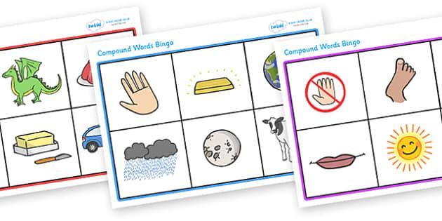 Compound Word Bingo - compound word, dominoes, game, bingo, game, activity, compound, word, words, images, match, dominoe, fun