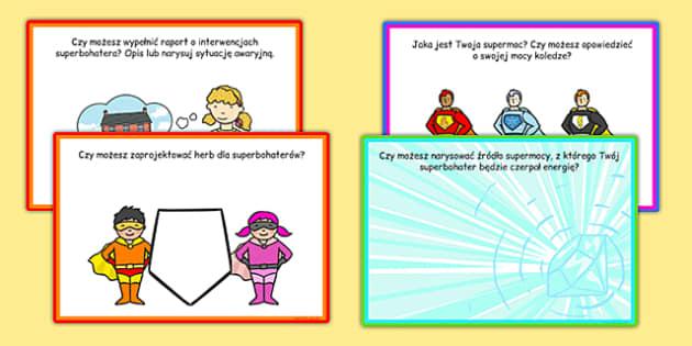 Karty z wyzwaniami Superbohater po polsku - przedszkole