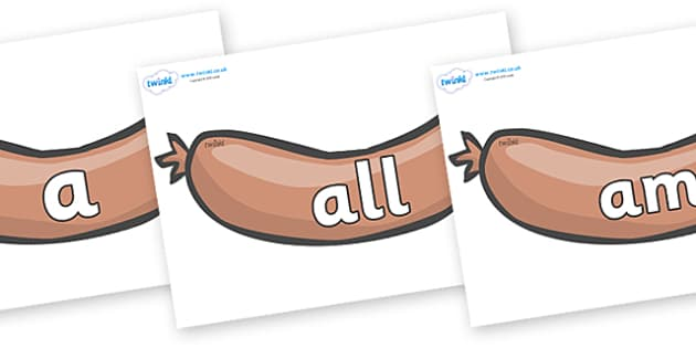 Foundation Stage 2 Keywords on Sausages to Support Teaching on The Very Hungry Caterpillar - FS2, CLL, keywords, Communication language and literacy,  Display, Key words, high frequency words, foundation stage literacy, DfES Letters and Sounds, Lette