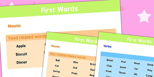First Words List - first words, list, first, words, speech, speak