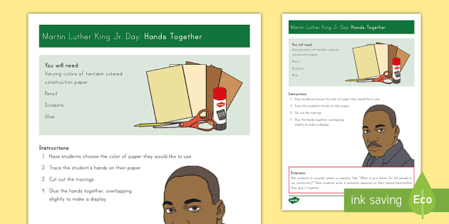 Hands Together Craft Instructions - Martin Luther King, Jr.