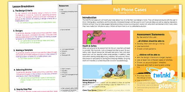 PlanIt - DT UKS2 - Felt Phone Cases Planning Overview - planit, overview