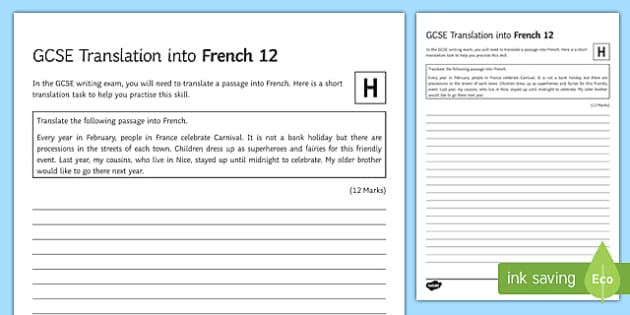 GCSE French: Translation into French - 12 Higher Tier Activity Sheet-French