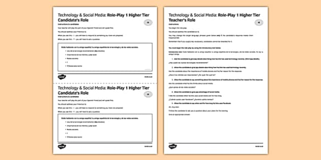 Tecnologías & Redes sociales Juego de rol Higher Tier - spanish, Tecnology, social media, speaking, higher, role-play, tecnologías, redes sociales, Facebook