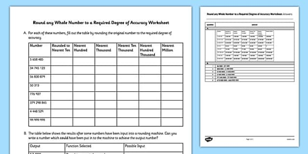 Round Any Whole Number to a Required Degree of Accuracy Worksheet