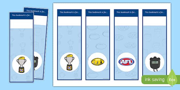 AFL Australian Football League Bookmarks