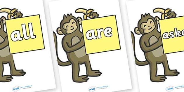 Tricky Words on Monkeys - Tricky words, DfES Letters and Sounds, Letters and sounds, display, words