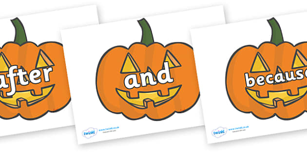 Connectives on Jack O'lanterns - Connectives, VCOP, connective resources, connectives display words, connective displays