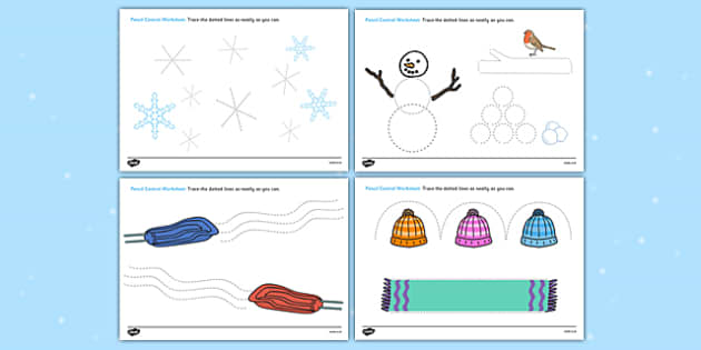 Winter Pencil Control Worksheets - worksheets, worksheet, work sheet, pencil control, motor skills, winter pencil control, winter worksheet, sheets, activity, writing frame, filling in, writing activity