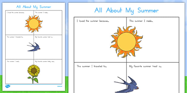 All About My Summer Activity Sheet, worksheet