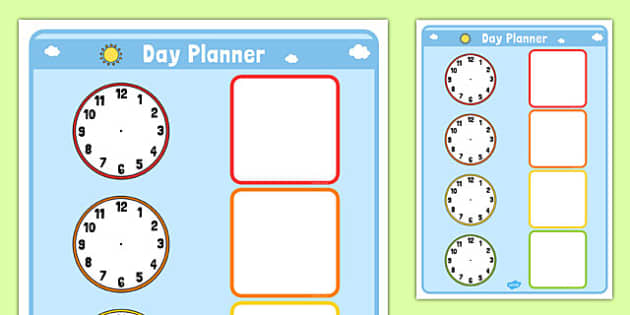 Clock Day Planner - clock, day, planner, planning, time, day planner