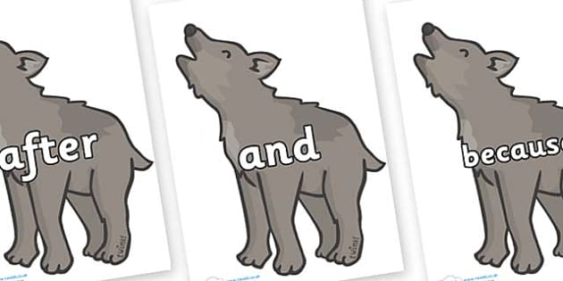 Connectives on Wolf Cubs - Connectives, VCOP, connective resources, connectives display words, connective displays