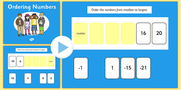 Ordering Numbers From Minus 50 to 50 PowerPoint - numbers, order