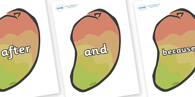 Connectives on Mangoes - Connectives, VCOP, connective resources, connectives display words, connective displays