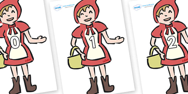 Numbers 0-31 on Little Red Riding Hood - 0-31, foundation stage numeracy, Number recognition, Number flashcards, counting, number frieze, Display numbers, number posters