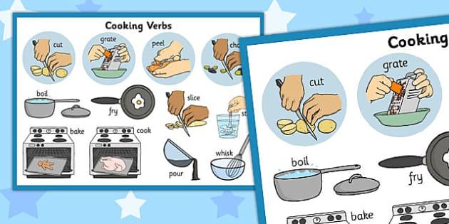 Cooking Verbs Display Poster - cooking, verbs, display, poster