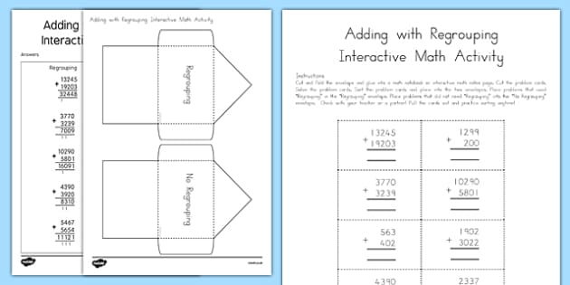 Addition with Regrouping Interactive Math Activity - usa, america, interactive, addition, regrouping