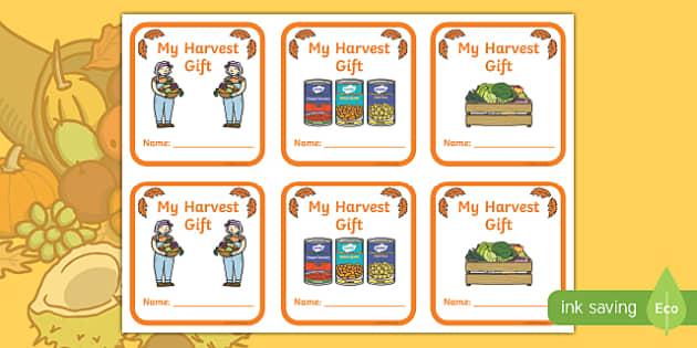Harvest Festival Donation Label Activity