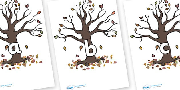 Phase 2 Phonemes on Autumn Trees - Phonemes, phoneme, Phase 2, Phase two, Foundation, Literacy, Letters and Sounds, DfES, display