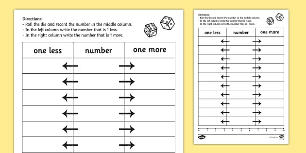 One More One Less Dice Activity Sheet dice games numeracy – One More One Less Worksheets