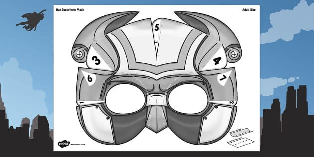 3D Bat Superhero Mask Printable - 3d, bat, superhero, mask, craft