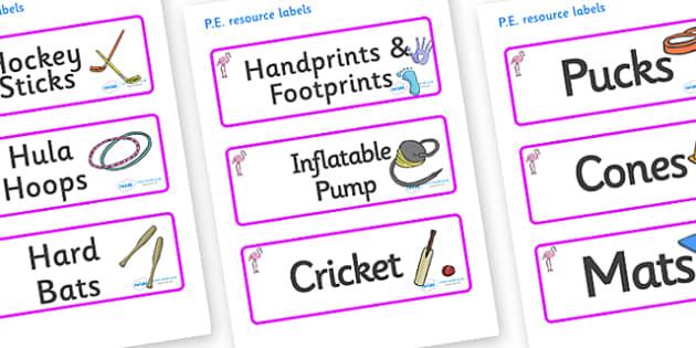 Flamingo Themed Editable PE Resource Labels - Themed PE label, PE equipment, PE, physical education, PE cupboard, PE, physical development, quoits, cones, bats, balls, Resource Label, Editable Labels, KS1 Labels, Foundation Labels, Foundation Stage L