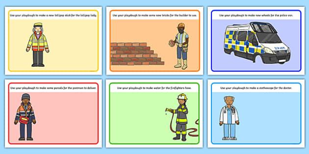 People Who Help Us Playdough Mats - People Who Help Us, playdough, mat, Doctor, Nurse, Teacher, Police, Fire fighter, Paramedic, Builder, Caretaker, Lollipop, Traffic Warden, Lunchtime supervisor, vet, postman