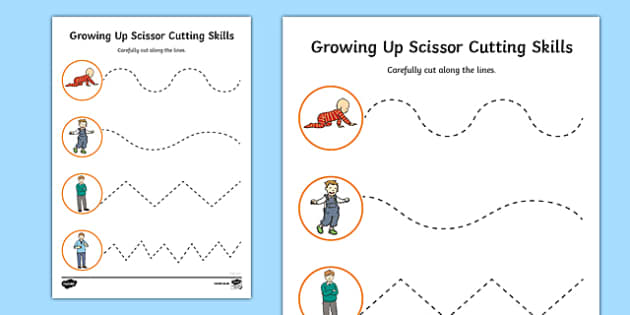 Growing Up Cutting Skills Activity Sheet, worksheet
