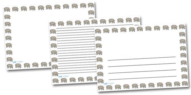 Rhino Landscape Page Borders- Landscape Page Borders - Page border, border, writing template, writing aid, writing frame, a4 border, template, templates, landscape