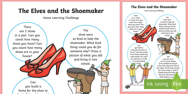 Home Learning Challenge Sheet Nursery FS1 - The Elves and the Shoemaker, traditional tales, Christmas, home learning, homework, parents,