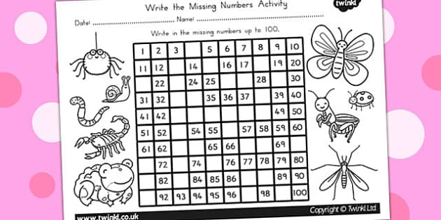 Minibeasts Cute Missing Numbers Number Squares - counting aid