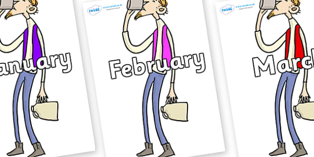 Months of the Year on Bean to Support Teaching on Fantastic Mr Fox - Months of the Year, Months poster, Months display, display, poster, frieze, Months, month, January, February, March, April, May, June, July, August, September