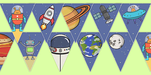 Space Themed Bunting - bunting, decorations, display, display bunting, space bunting, space, outer space, in space, moon, sun, stars, space themed, space theme, classroom decorations, for decorating your classroom