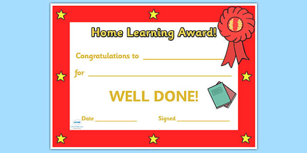 Home Learning Award Certificate - awards, certificates, learning