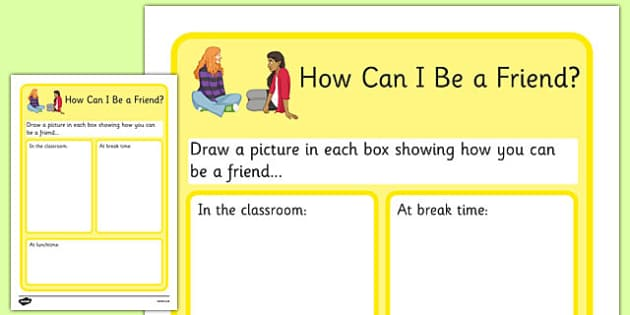 KS3 How Can I Be A Friend No Writing Worksheet - SEN, support, behaviour, relationships, secondary, activity, PSHE, discussion, caring, helping