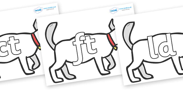 Final Letter Blends on White Dog to Support Teaching on Brown Bear, Brown Bear - Final Letters, final letter, letter blend, letter blends, consonant, consonants, digraph, trigraph, literacy, alphabet, letters, foundation stage literacy