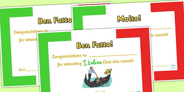 Italian Club Certificates - italian club, certificates, reward, award, reward certificates, certificate template, behaviour management, class management