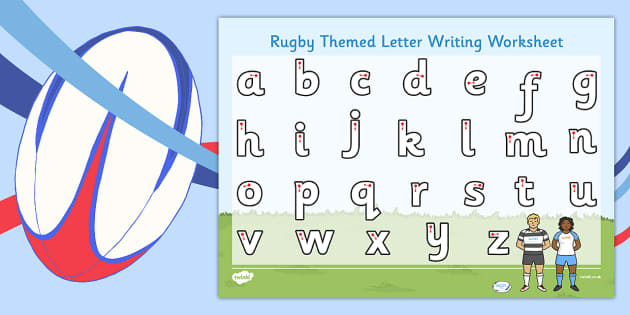 Rugby Themed Letter Writing Worksheet - rugby, letter writing
